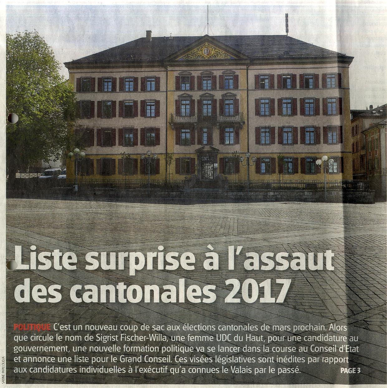 Liste surprise à l'assaut des cantonales 2017