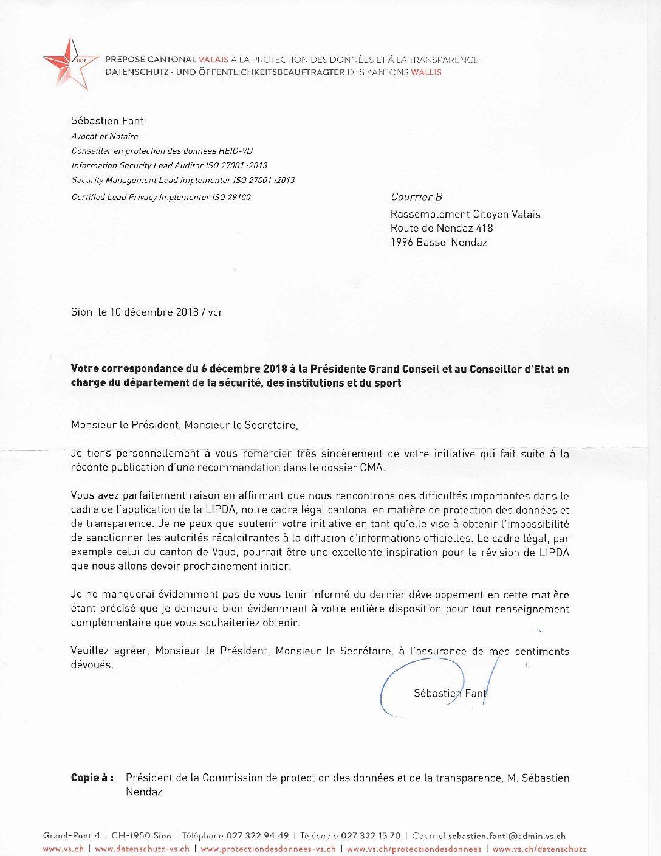 RCV soutenu par le préposé à la protection des données et à la transparence