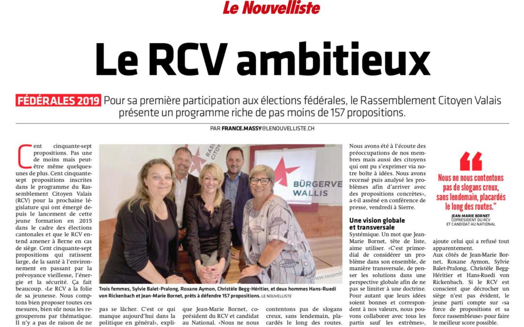 «Le RCV dévoile 157 propositions pour les élections fédérales 2019»