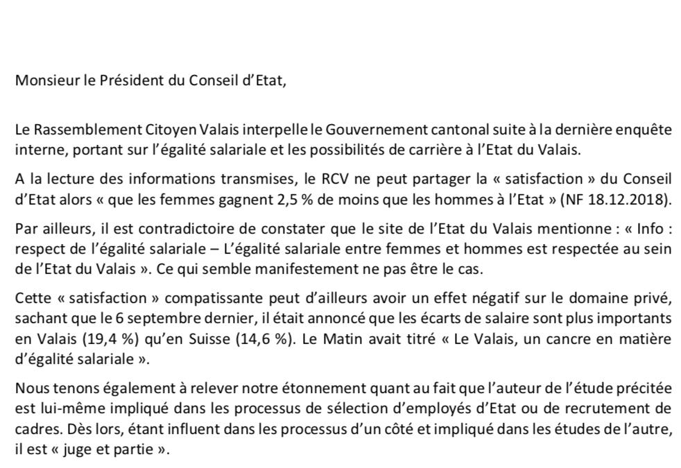 Egalité femmes/hommes le RCV propose 3 mesures au Conseil d'Etat