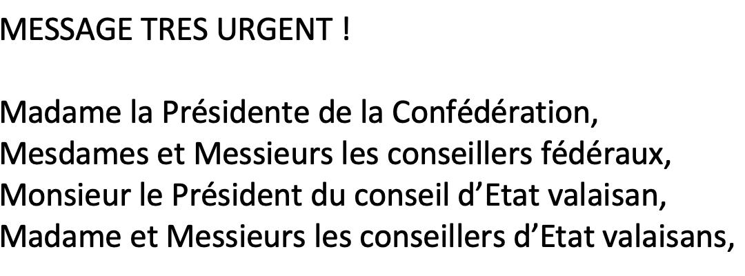 Coronavirus : demande de confinement urgent au CF et CE